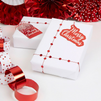 Merry Christmas Red & White Tags & Trim Pack